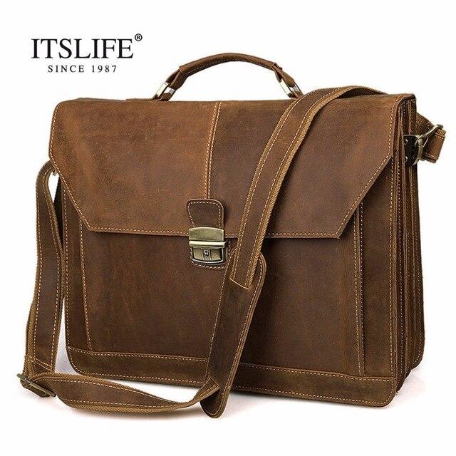 9f245745d55d Mens Rare Crazy Horse Leather Portfolios Bags Male Large Genuine Leather  Business Briefcase Laptop Handbag Messenger Bag