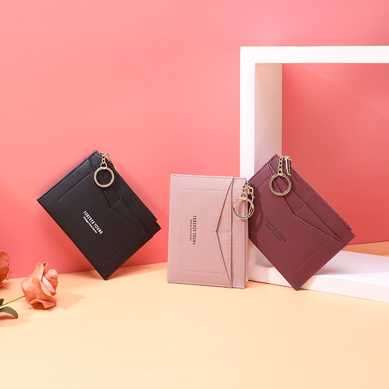 WEICHEN Slim Key Chain Card Holder Women Leather Bag Small Card Wallets Female Organzier Mini Credit Card Case Zipper Coin Bags in Card ID Holders from Luggage Bags