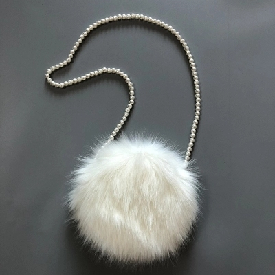 Faux Fur Round Shoulder Bag Female Trendy Cute Fluffy Party Winter Muff  White Clutch Hand Crossbody Bag for Women Pearl Chain e3af364ce00fe