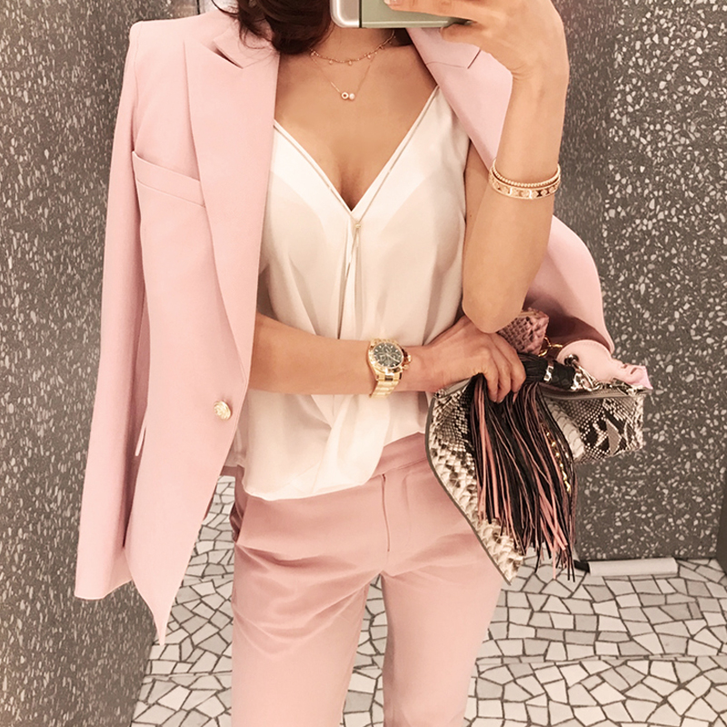 Women's suits women's new style fashion casual temperament one button was thin pink small suit jacket + nine pants two sets Price $72.14