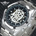 Победитель официальный панк автоматические часы для мужчин люксовый бренд Скелет механические часы нержавеющая сталь Ремешок хип-хоп Чере...