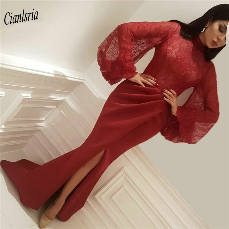 Weddings & Events Elegant Red Lace Kaftans Evening Dress Turkey 2019 Formal Long Caftan Dubai Arabic Gowns With Detachable Train Robe Sirene
