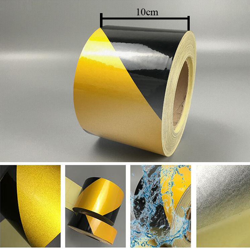10cm X 5m Self-Adhesive PET Reflective Sticker Warning Strip Decal Corrosion Resistance