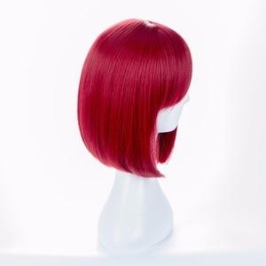 Image 2 - Danganronpa V3 Killing Harmony Yumeno Himiko Wine Bangs Bob Anime Cosplay Hair Wig 35cm + wig cap