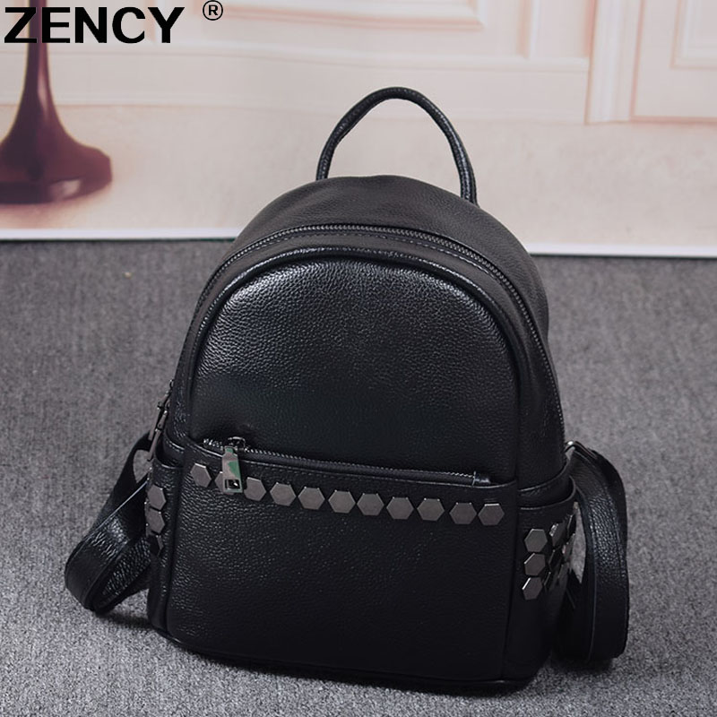 2017 Classic Fashion 100% Soft Natural Genuine Real Leather Women Cowhide Famous Brand Women's Ladies Backpacks Girl School Bag free shipping new original laser jet