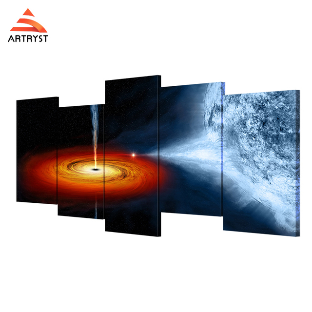 Artryst Nebula Outere Star Digital Picture 5 Pieces Canvas Printing Framed Wall Art For Dining Room Home Decoration Lc027