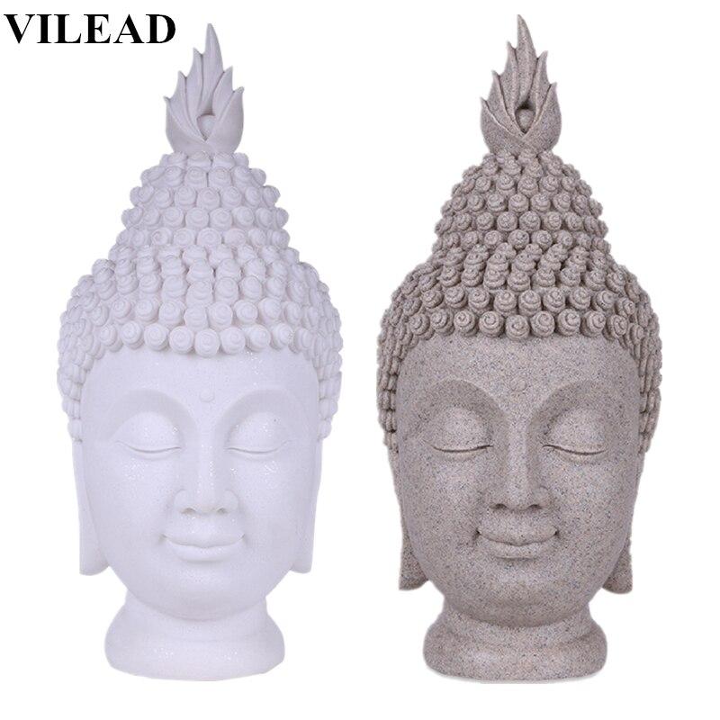 VILEAD 15 7 Sandstone China Buddha Head Statue Thiland Buddha Headed Statue Fengshui Figurine Buddhism Sculptures