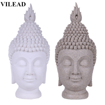 VILEAD 15.7'' Sandstone China Buddha Head Statue Thiland Buddha-Headed Statue Fengshui Figurine Buddhism Sculptures Home Decor