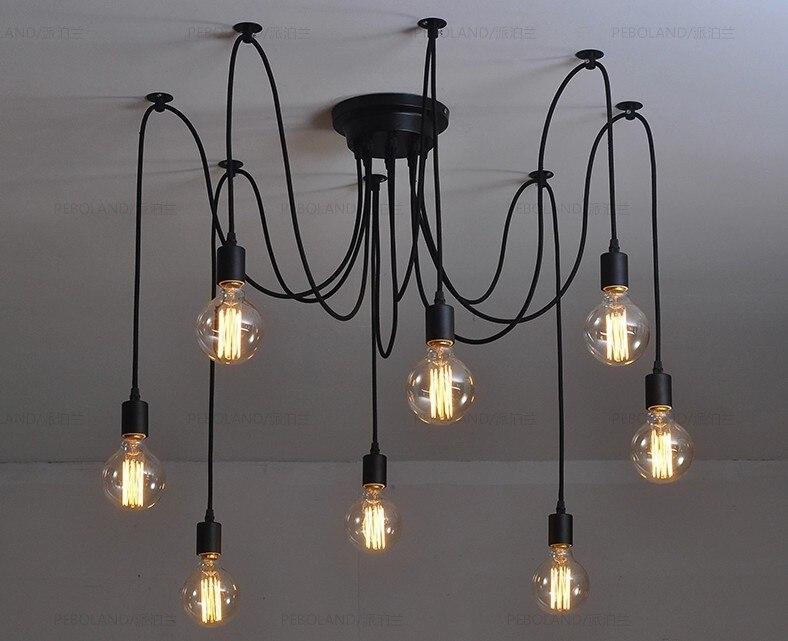 Antique Classic Adjustable Diy Ceiling Spider Lamp Light Retro Chandelier Edison Pedant Chic Industrial Lampshade Dining Lamp