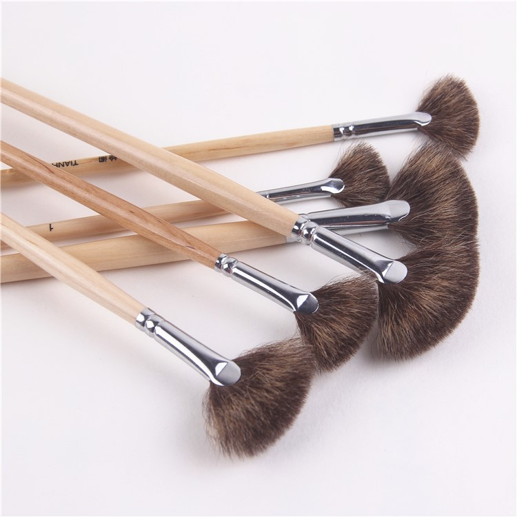 6 Pcs/suits Wood Rod Acrylic Painting Brush Mixed Hair Fan Shpe Oil Painting Brush Pen Student Art Supplies Drawing Material
