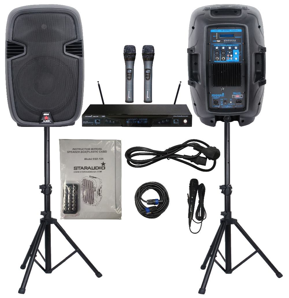 STARAUDIO Two-way  2000W 12  PA DJ Speakers W/ 2 Speaker Stands 1 Speaker Cable  2CH UHF Microphone  System 1 Wired Mic SSD-12A ss series speaker stands