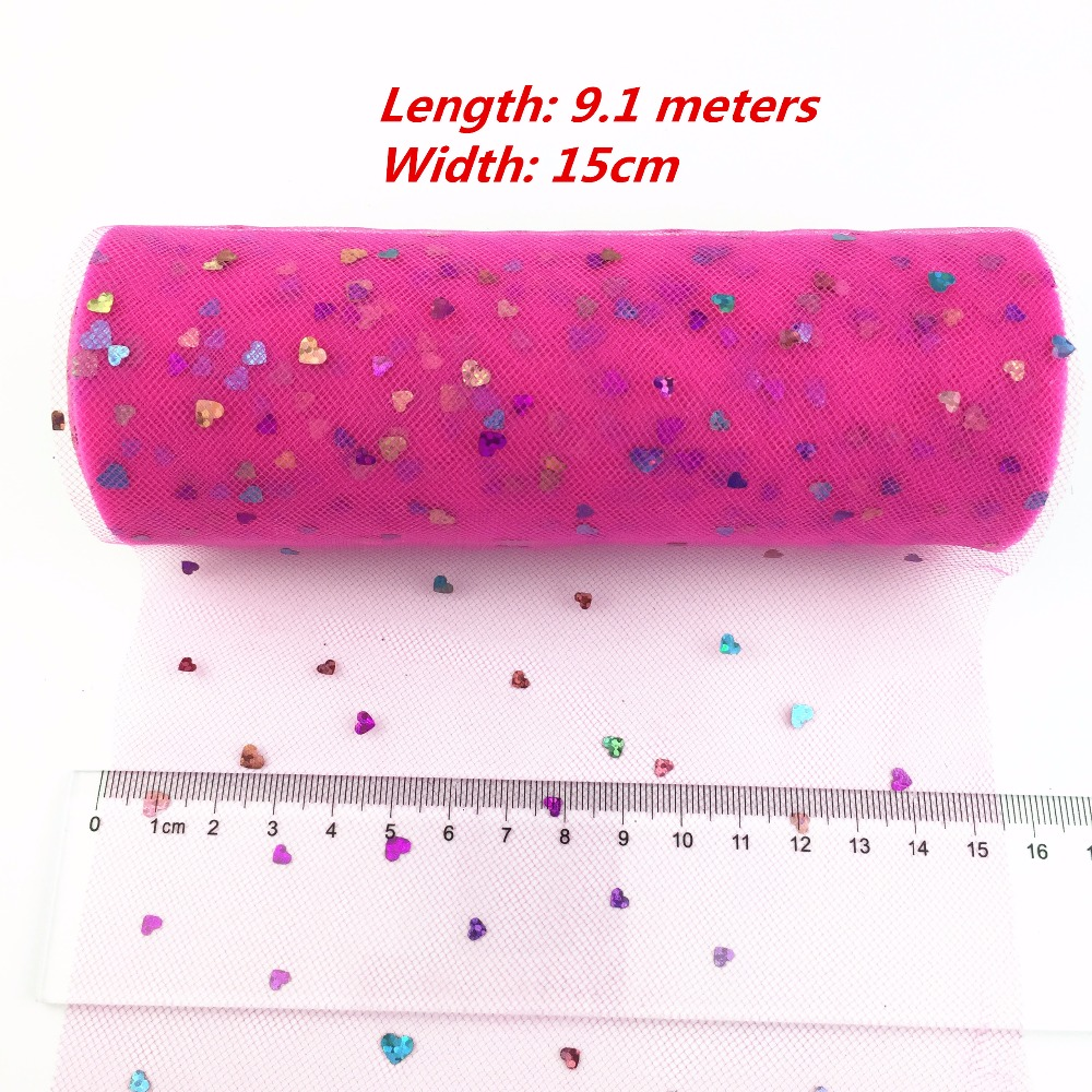 New Arrived 10yards 6inch Sequins Heart Tulle Rolls Wedding Decoration Mariage Glitter Tulle Roll DIY Tulle Fabric Craft Decor.b