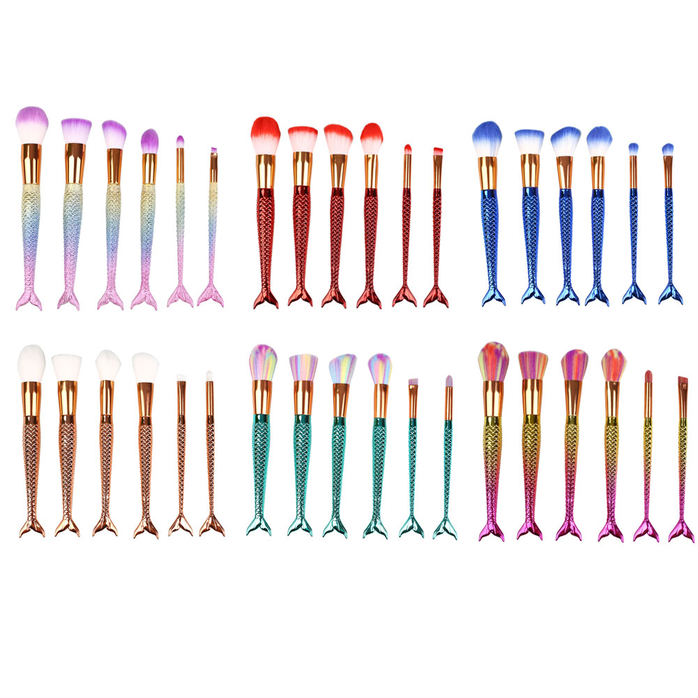 6pcs/set Cosmetic Tools Makeup Brush Foundation Blusher Face Fish Mermaid 6pcs set cosmetic tools makeup brush foundation blusher face fish mermaid