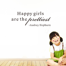 English proverbs Audrey Hepburn Happy girls are the prettiest quote wall stickers Home Decoration ZY8255 lusoga riddles and proverbs
