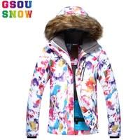 GSOU SNOW Brand Winter Ski Jacket Women Snowboard Jacket Waterproof Cheap Ski Suit Outdoor Ladies Sport Clothes New Arrival
