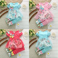 New Baby Girls clothing Set Girls floral print short-sleeved suit girls baby set suits retail kids clothing sets free shipping