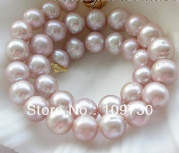"""Jewelry 001581 HUGE REAL 17"""" 12-13mm ROUND purple FRESHWATER PEARL NECKLACE"""