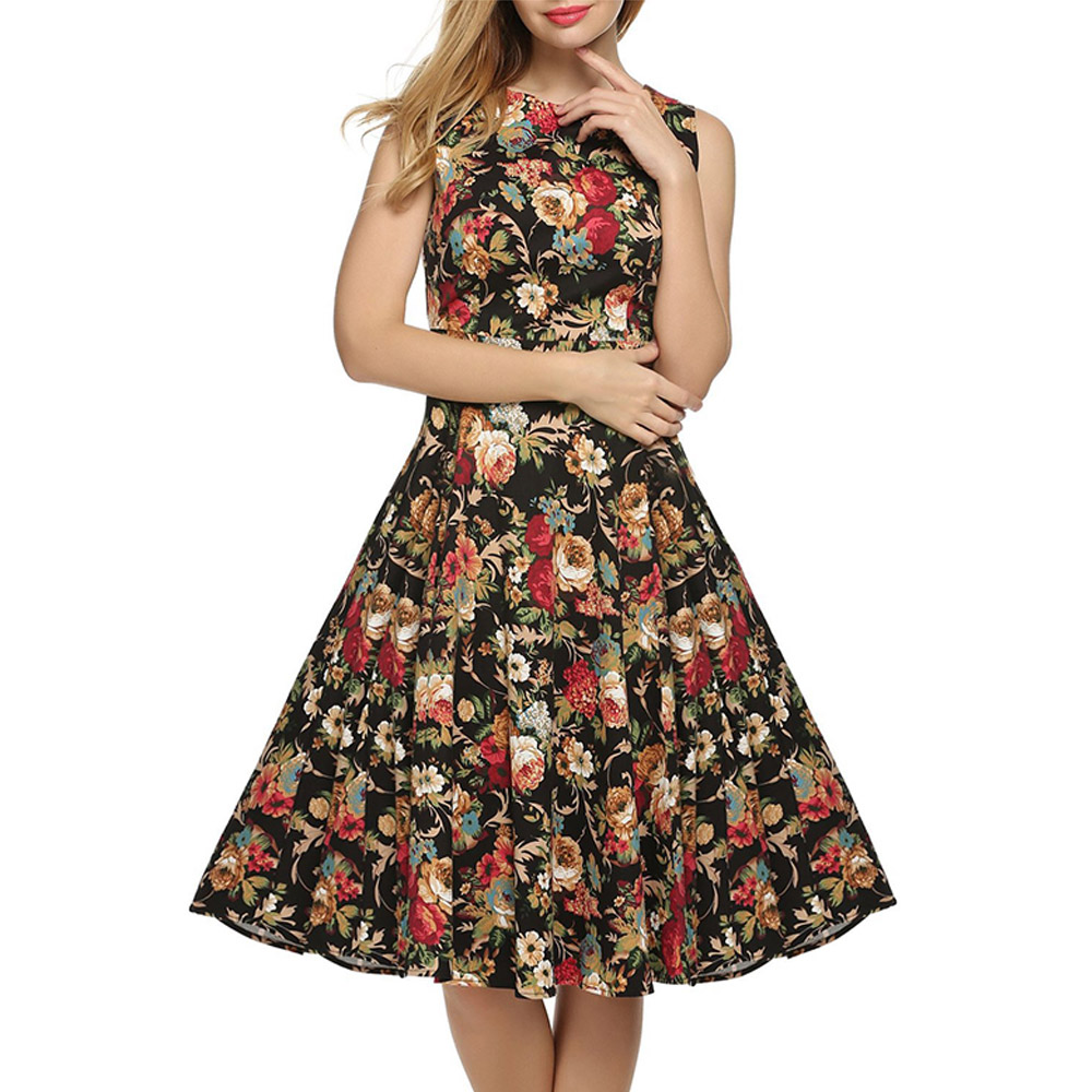 New Fashion Women <font><b>Dress</b></font> Summer Sleeveless Tunic Casual Retro <font><b>Vintage</b></font> <font><b>1950s</b></font> <font><b>60s</b></font> Big Swing Long Floral <font><b>Dresses</b></font> S-XXL image