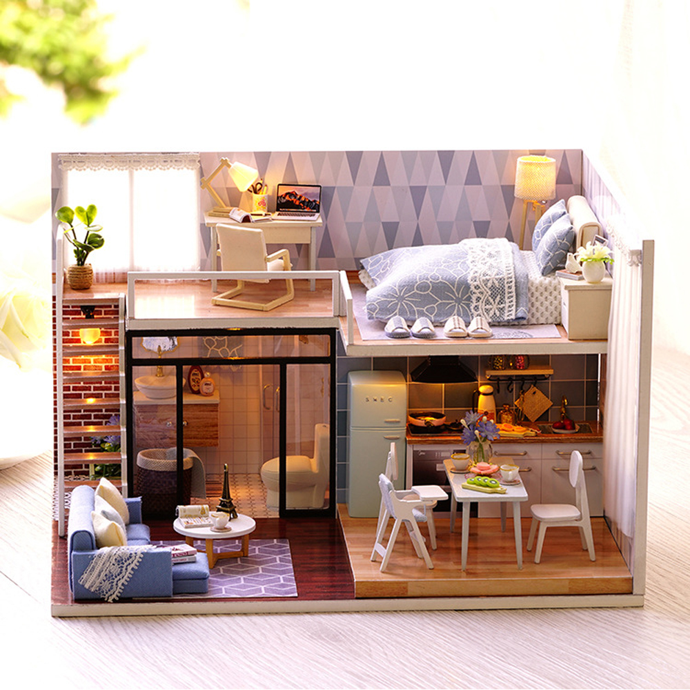 Blue time miniature modern house model dollhouse furniture kits diy wooden dolls house with led lights birthday christmas gift