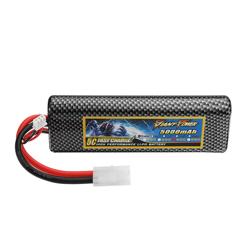 GIANT POWER 7.4V 5000mAh 50C 2S Lipo Battery Rechargeable With TAMIYA Plug Connector For RC Model Spare Part Accessories
