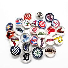 Wholesale Mixs MLB Baseball Teams Glass Snaps Buttons 18mm Sports Charms Fit Ginger Bracelets Necklace Jewelry