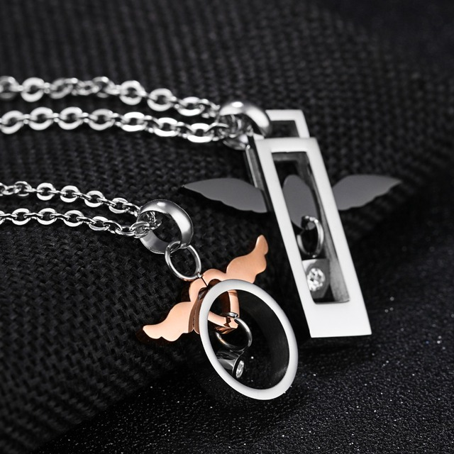 a156f013e0 Romantic Angel Wing Pendant Necklace Lover Lucky Charm Couple Necklace  Girlfriend Boyfriend Sweet Gift Pair Jewelry 2019 New