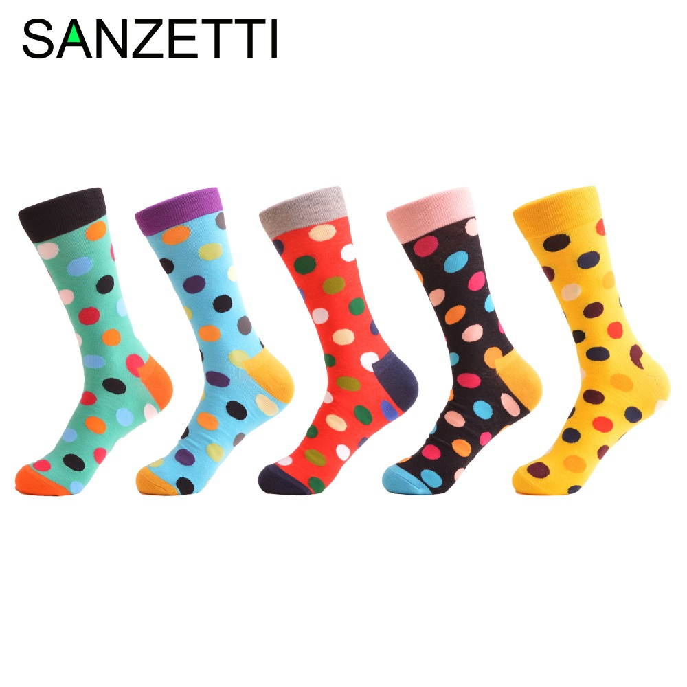 SANZETTI 5 Pairs/Lot Ladies Classic Dot Funny Combed Cotton Crew Women   Socks   Fashion Colorful Wedding Gifts EU Size 37-42