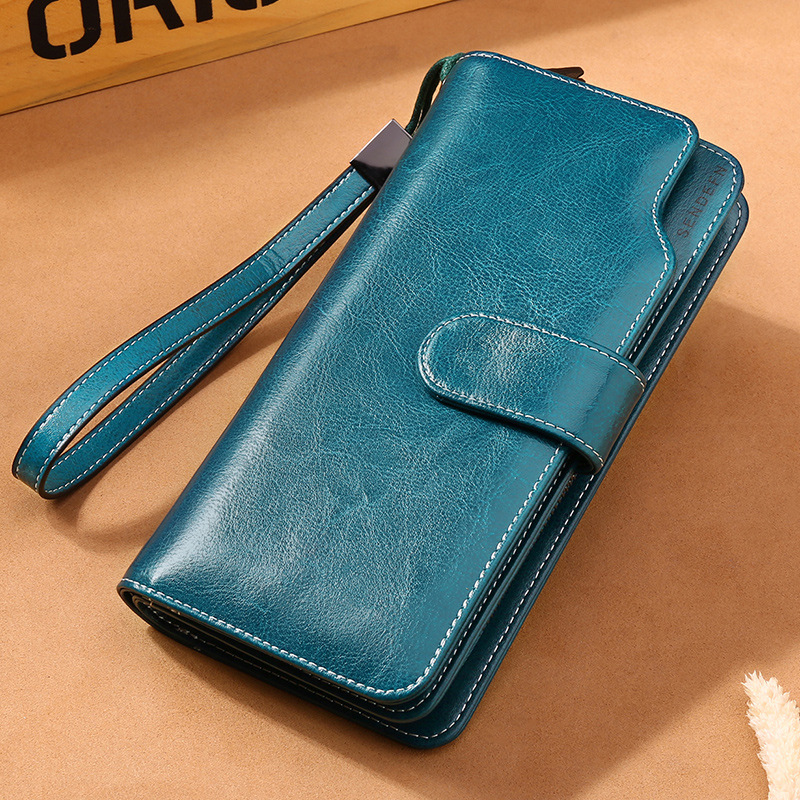 KALUNMA wallet female famous brand card holders cellphone pocket genuine leather women money bag clutch women wallet for iphone universal alligator grain wallet style pu case w card slot strap for iphone 5 cellphone