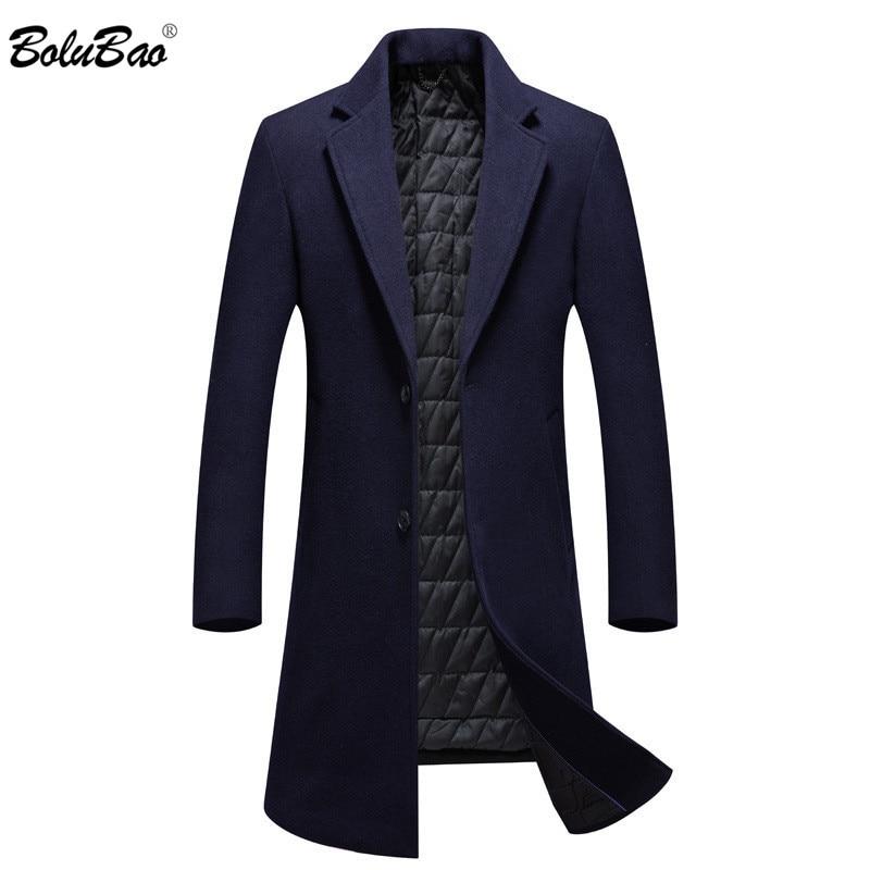 BOLUBAO Men Winter Wool Coat Men's Long Section Over The Knee Casual Thick Wool Blends Woolen Pea Coat Male Trench Coat Overcoat