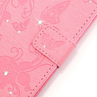3D Bling Crystal Rhinestone Case For IPod Touch 6 IPod Touch 5 Flip Wallet PU Leather