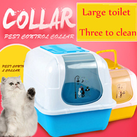 Pets Cat Bedpan Semi Closed Toilet Litter Box Pet Large Plastic Tray Toilet Training Cats Kuwety Dia Kota Pet Supplies 90Z2034