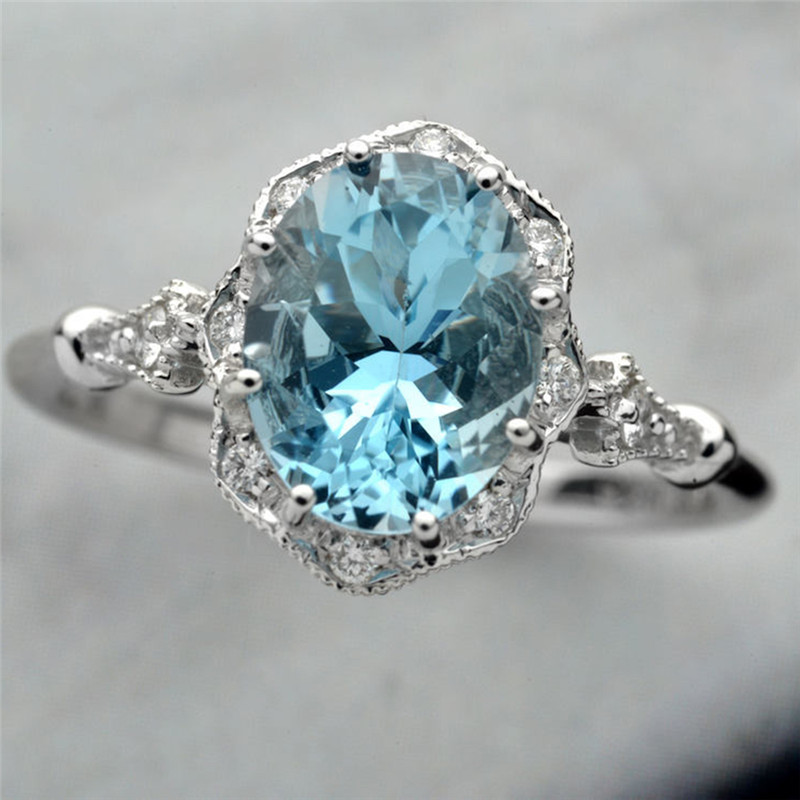 ROMAD Blue Crystal Women Rings Oval Clear Stone Gold Color Wedding Female Finger Rings Engagement Charms Jewelry R4