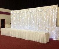 Романтический белый 3 м * 6 м блеск Ice Шелковый свадьба фон Шторы с swag со светодиодной подсветкой без Топ гирлянды