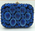 Sapphire Blue Women's Acrylic Beads Evening Bag Gold Metal Small Clutch Handbag Wedding Mini HandBag Single Shoulder Bags 4Color
