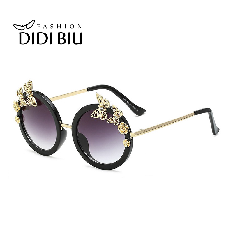 DIDI Top Grace Flower Sunglasses Women Luxury Brand Round Vintage Flat Lens Glasses Gold Rose & Butterfly Crystal Eyewear W635