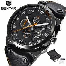 BENYAR Mens Military Wrist Watches Chronograph Date Display Luxury Genuine Leather Band Strap Quartz Movement Army Style (+Box)