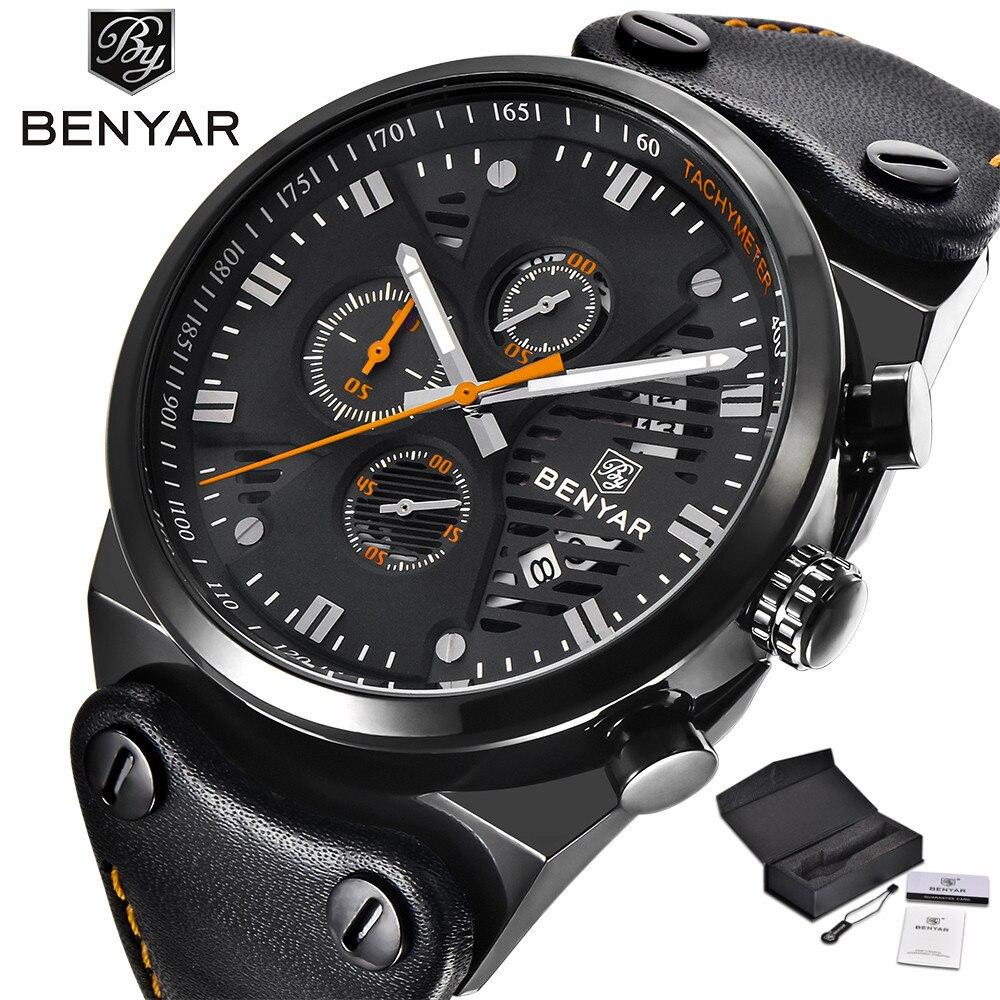 где купить BENYAR Mens Military Wrist Watches Chronograph Date Display Luxury Genuine Leather Band Strap Quartz Movement Army Style (+Box) по лучшей цене