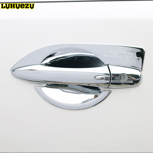 Luhuezu 4pcs ABS Chromed Door Handle Bowl Trim For NIssan Patrol Armada Y62 Accessories 2013 2014