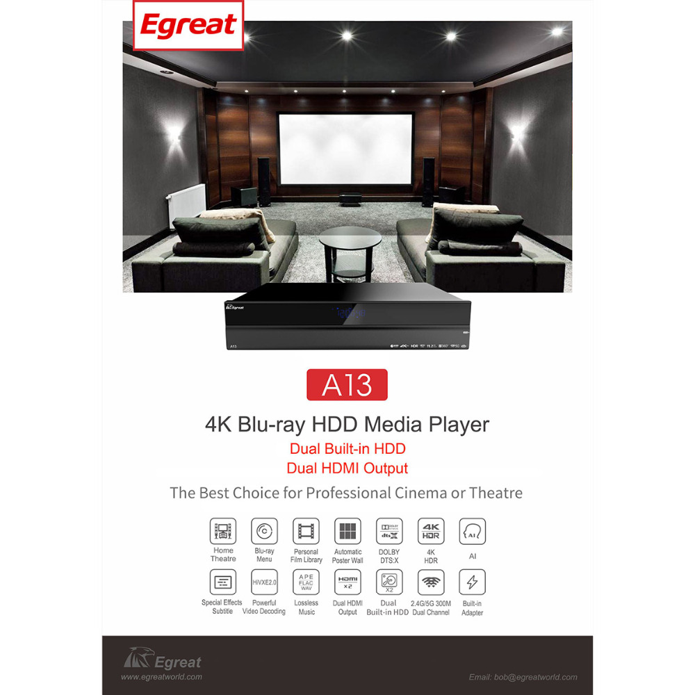 High-end Egreat A13 4 K Ultra HD Smart Media Player BT4.0 2.4G/5G WiFi con 2x3.5 pollici HDD Vassoio Dolby Atmos/DTS: X Android TV Box