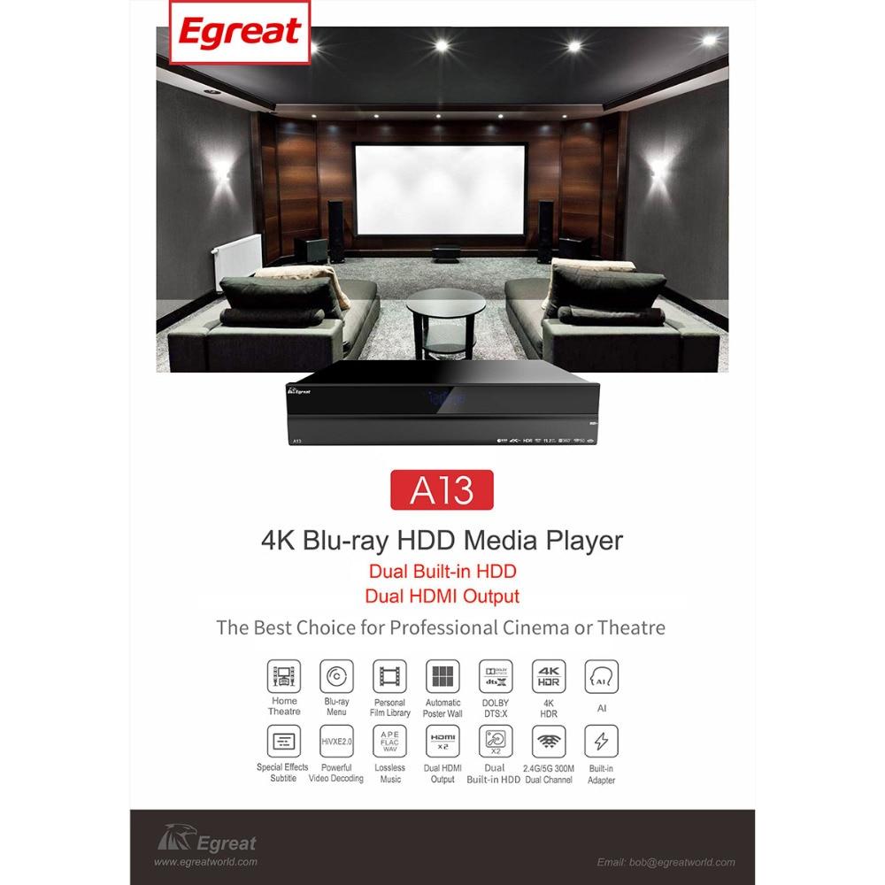High-end A13 4 K Ultra HD Inteligente Media Player Egreat BT4.0 2.4G/5G WiFi com atmos 2x3.5 polegada HDD Bandeja Dolby/DTS: X Caixa de TV Android
