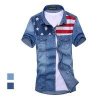 2017 Новый vintage мужская мода Американский Флаг джинсовая рубашка с коротким рукавом светло-голубой джинсы рубашка бесплатная доставка Высоко...
