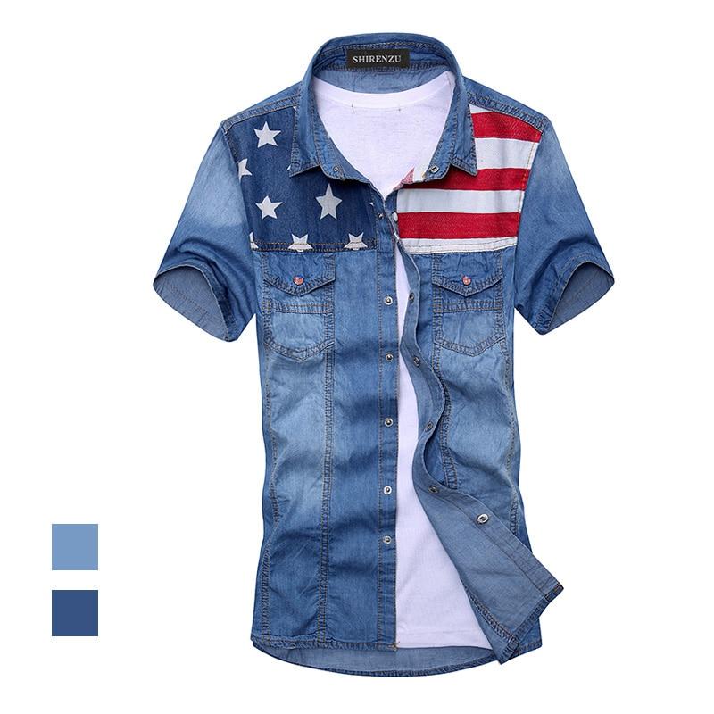 2018 جديد أزياء الرجال خمر العلم الأميركي الدنيم قميص قصير الأكمام الضوء الأزرق الجينز قميص الشحن مجانا أعلى جودة