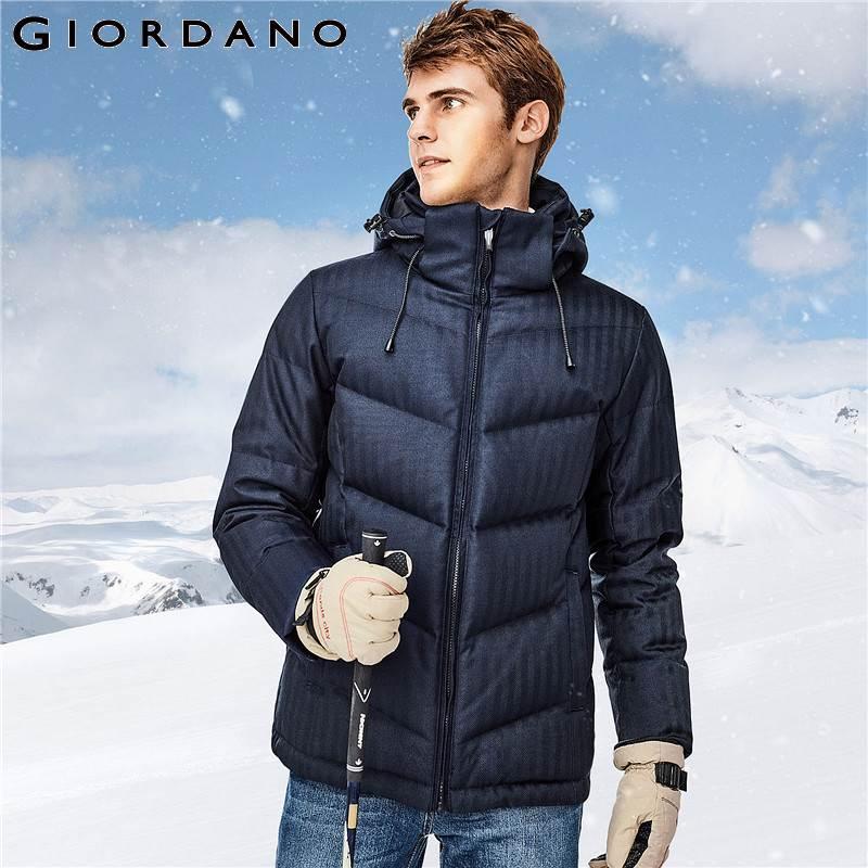 Giordano Hommes doudoune Hommes 90% Qualité Gris Duvet de Canard Amovible doudoune à capuche Bien Coutures Durable Chaqueta