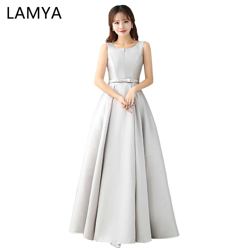 LAMYA 2018 Luxury Sliver Satin Long Elegant   Evening     Dresses   Prom   Dress   Robe De Soiree Pink Party Gown