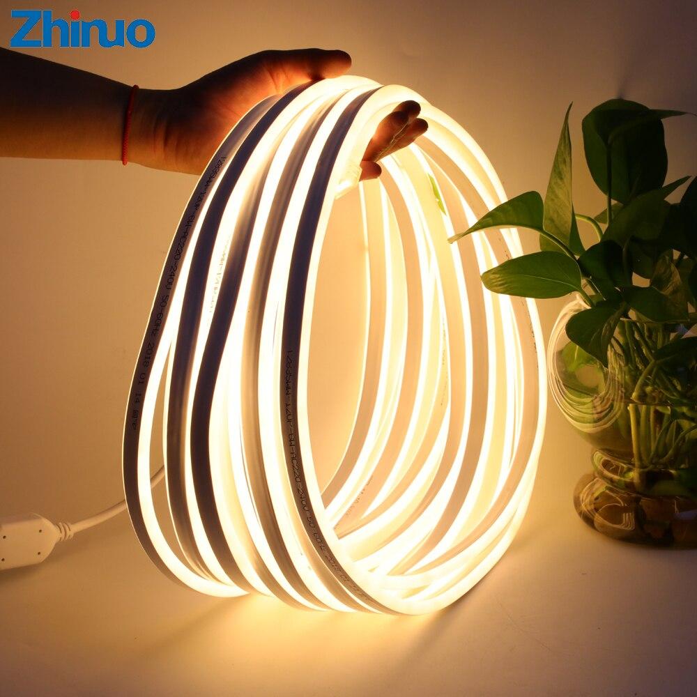 Tira de luz Led 220 V SMD2835 120led/M impermeable Flexible de la iluminación con enchufe de alimentación Festival al aire libre decoración de neón luces