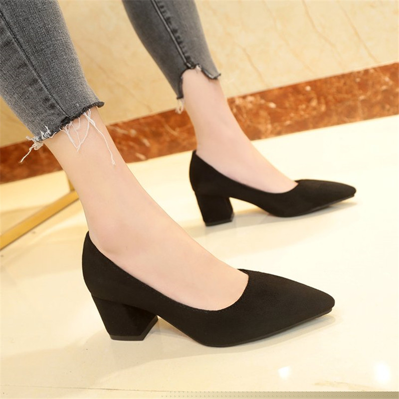 Suede High Heels Pumps Women Shoes 2019 Spring Autumn Shoes Women Fashion Shallow Pointed Pumps Square Heel Office Female Shoes