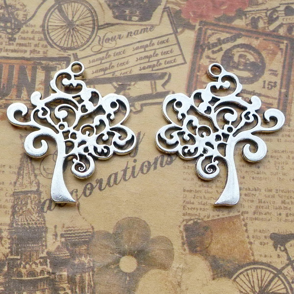 Painstaking 3 Pieces/lot 41mm*37mm Diy Jewelry Accessory Tibetan Silver Charm Tree With A Sense Of Design Charms For Jewelry Making Jewelry Sets & More