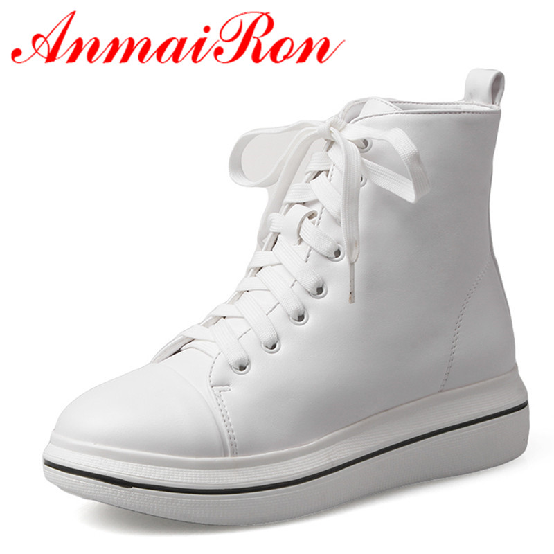 ANMAIRON Round Toe Lace-up Shoes Woman 2 Colors Fashion White Shoes Spring Autumn & Winter Ankle Boots for Women Wedges Shoes xiaying smile woman pumps shoes women spring autumn wedges heels british style classics round toe lace up thick sole women shoes