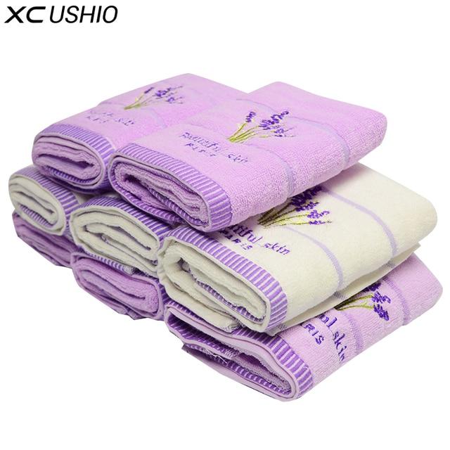 XC USHIO 5pcs/set 100% Cotton 34*75cm Lavender Face Towel Hand Towel Washcloth Lovers Towel Gift Toalla De Cara Facies Linteum