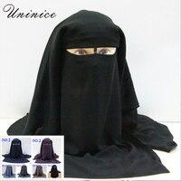 Islamic 3 Layers Niqab Burqa Bonnet Hijab Cap Veil Muslim Bandana Scarf Headwear Black Face Cover